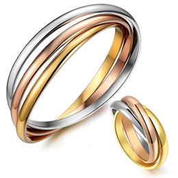 Wholesale 18k gold rings forever love - 2017 New Arrival Top quality 316L Stainless steel three color forever love Ring for man and women