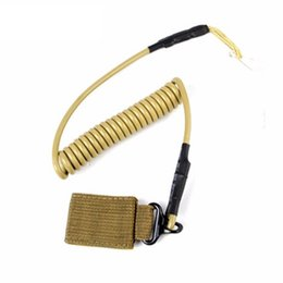 Wholesale Tactical Pistol Sling - 2pcs Airsoft Tactical Single Point Pistol Handgun Spring Lanyard Sling Quick Release Shooting Hunting Army Combat Gear