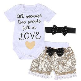 Wholesale Sequins Girls Shorts - Girls Three-piece Suits Print Ins Textile Printing Letters Short Sleeve Sequins Shorts Hairband Bowknot 0-3T Children's Sui