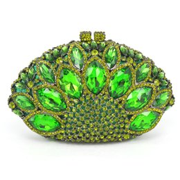 Wholesale Evening Bags Stones - Wholesale-New Design Peacock Shape Evening Bag Green Stone Crystal Luxury Clutch Bag Diamond Ladies Handbags Party Purse Wedding Bag 88151