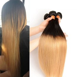 Wholesale Ombre Weave 27 - PASSION Ombre Hair Extensions Brazilian Malaysian Peruvian Straight Virgin Hair 3 Bundles Two Tone #1B 27 Ombre Blonde Human Hair Weaves