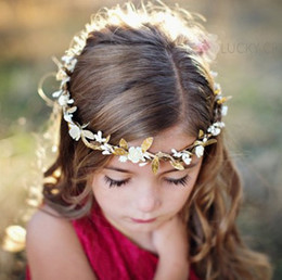 Wholesale Golden Hair Band - INSEuropean Style Children Hair Accessories Baby Golden Leaves Flower Headbands Kids Girls Hair Bands Baby Fashion Christmas Wreath Headwear