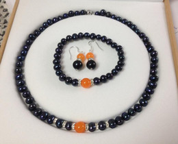 Wholesale Jade Jewelry Box China - Free Shipping >>>>Black Akoya Cultured Pearl Orange Jade bracelets necklace earrings set No box