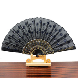Wholesale Wholesale Sequins China - Chinese Traditional Styles Cloth Fan Peacock Feather Embroidery Colon Sequins Design Black Plastic Folding Hand Fan Deliver Random
