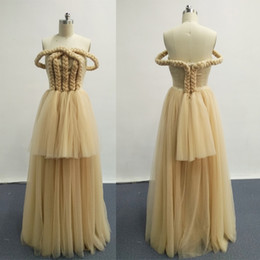 Wholesale Gold Classic Weave - 2016 Prom Dresses Off the Shoulder Weave Champagne Tulle A-line Evening Gowns Real Images Dhyz 01