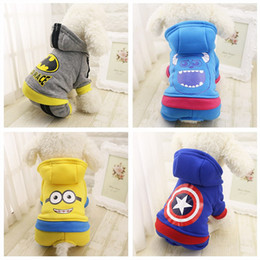 Wholesale Pet Dog Clothes Batman - Cute Warm Dog Clothes Winter Pet Cat Coat Puppy Costume Hoodie Minions Batman Captain America Jumpsuit Clothing for Dogs 29