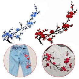 Wholesale Iron Fabric Flowers - NEW Plum Blossom Flower Applique Clothing Embroidery Patch Fabric Sticker Iron On Sew On Patch Craft Sewing Repair Embroidered