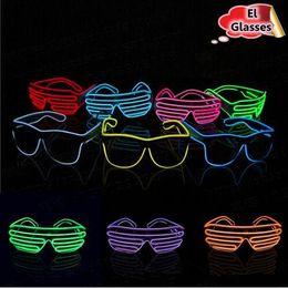 Wholesale Neon Kids - Simple El Glasses El Wire Fashion Neon LED Light Up Shutter Shaped Glow Sun Glasses Rave Costume Party DJ Bright Sunglasses CCA6535 300pcs