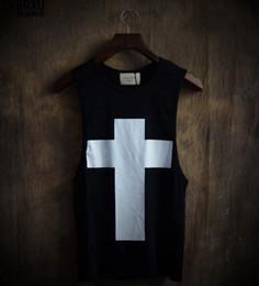 С воротником онлайн-Новое прибытие хип-хоп стиль мужские топы мужской моды крест печатных свободные плюс размер рукавов футболки человек круглый воротник жилеты