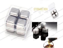 Wholesale Stainless Steel Whiskey Stones - 2017 NEW NEW 4Pcs set Whiskey Wine Beer Stones Stainless Steel Cooler Stone Ice Rocks Cube Alcohol Chiller Stone MYY