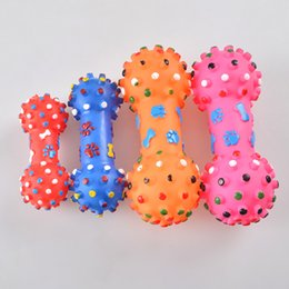 Wholesale Rubber Cat Toy - Free Shipping New Adorable Pet Chews Toy Rubber Bone With Ball Animal Toys Pets Supplies Pets Cat Dog Products 121902