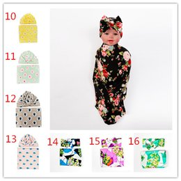 Wholesale Girl Sets Flower - INS Floral Infant Baby Swaddle Sack Baby Girl Rose Flower Blanket Newborn Baby Soft Cotton Cocoon Sleep Sack With Knot Headband Cap Hats Set
