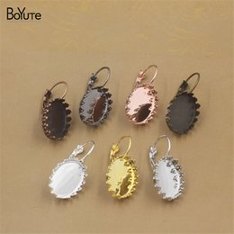 Wholesale Earrings Blanks - BoYuTe 20Pcs 7 Colors Oval 13*18MM Cabochon Base Setting Blank Tray Accessories Earrings Diy Jewelry Findings Components