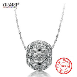 Wholesale Millefiori Pendant Necklace - YHAMNI Fine Jewelry 100% 925 Sterling Silver Bead Pendant Necklace For Women Silver Chains Statement Necklaces Wholesale BKN006