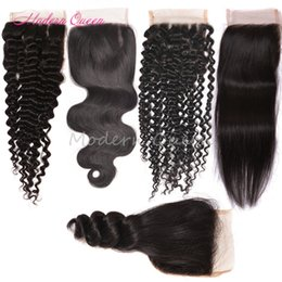 Wholesale Cambodian Hair Mixed - Brazilian Hair Lace Closure 4x4 Size Peruvian Malaysian Indian Cambodian Mongolian Body Wave Straight Deep Kinky Curly Human Hair Closures