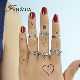 Wholesale Moon Stone Rings - Boho Chic 6 pcs set Antique Silver Color Triangle Moon Horn Shape Knuckle Rings Set Blue Stone Finger Rings Accessories