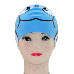 Wholesale Boys Swim Hat - Wholesale- Kid'S Silicone Swimming Cap Cartoon Fish Shaped Swim Cap Hat For Boys Girls Bath