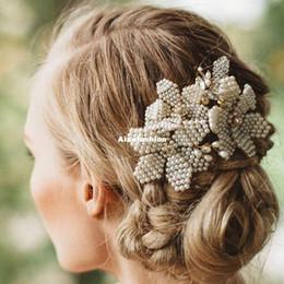 Wholesale Wedding Comb Hair Chains - 2017 New Luxury Hair Combs Handmade Pearl Women Crystal Charm Headband Chain Headpiece Wedding Hair Accessories Bridal Hair Jewelry Prom