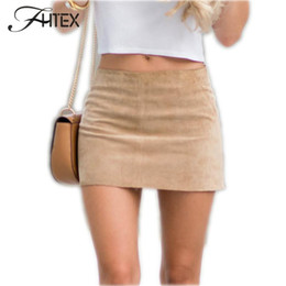 Wholesale Hot Women Short Skirts - 2017 Hot Women Faux Leather Mini Skirt Womens Fashion Leather Suede Pencil Skirt Zipper Split Bodycon Sexy Summer Short Skirts 17409