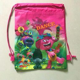Wholesale Drawstring Backpack Kids Bags - Trolls Kids Backpack Moana poke pikachu Drawstring Bags boys girls Cartoon Non Woven Sling Bag School book bags Party christmas Gift Bag