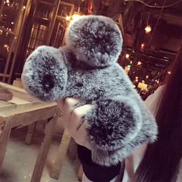 Wholesale Panda Bear Ears - For iPhone X 8 7 6 5 4 Plus Luxury Top Rabbit Fur Panda Bear Ear Tail Fur Ball Plush Furry Case