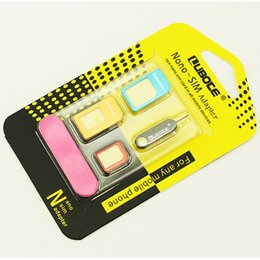 Wholesale micro sim card tray - 5 in 1 Set Nano SIM Card to Micro SIM Card Standard Adapter Converter for Iphone 5 6 Plus Galaxy S5 S6 Edge all cell phone with Eject Pin