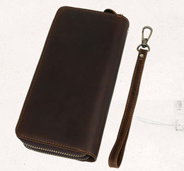 Wholesale Double Zipper Clutch Wallet - Men leather cluth wallets Imported first layer crazy horse leather Long length wallets double zipper Retro fashion wallets cost prices sale