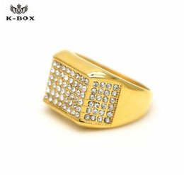 Wholesale Gold Ring Cz Crystal - 2017 24k Gold Band Men's Micropave CZ AAA Crystal Hip Hop Bling Iced Out Pinky Ring Size 9 10 11 12 men Jewelry