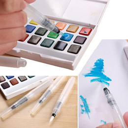 Wholesale Wholesale Calligraphy - Wholesale-3pcs 3size  set Refillable Water Brush Ink Pen for Water Color Calligraphy Drawing Painting Illustration Pen Office Stationery