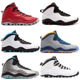 Wholesale Men Soccer Shoes Venom - 2017 air retro 10 X men Basketball Shoes steel Grey powder Blue Chicago Seattle Blue Ice Bobcats Infrared Venom 10 Sneakers sports shoes