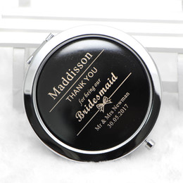 Wholesale Engraved Pocket - Custom Engraved compact mirror Personalised compact mirror favors pocket magnifying mirror wedding gift for bridesmaid #M070S