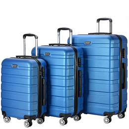 "Wholesale Travel Trolley Wheels Luggage Bag - 3 Piece 20"" 24"" 28"" Wheel Spinner Luggage Sets Hardside Suitcase Travel Suitcase ABS School Bags Rolling Trolley with Lock Blue"