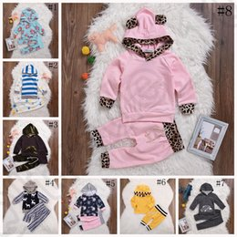 Wholesale Infant Leopard Coat - Children INS Xmas Spring Striped Hoodies Sets Boys Girls Outfits Infant Leopard Chevron Floral Coat T-shirt Girl Striped Short Pants OOA1101