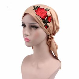 Wholesale Embellished Hats - Elastic Rose Flower Style Soft Breathable Stretchable Muslim Hijab Caps Islamic Hats Full Head NE750