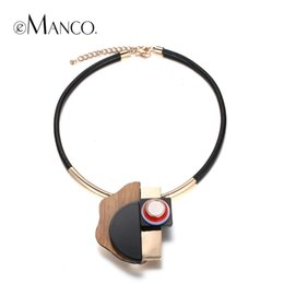 Wholesale Choker Plate - eManco Trendy Unique Design Geomeyric Collar Choker Necklace & Pendant Women Resin Wood Rope Alloy Gold Plated Summer Jewelry