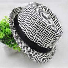 Wholesale Summer British Style Tops - British Style Unisex Straw Hats Plaid Fedora Trilby Hats Men Women Beach Sun Hat Jazz Cap Spring summer AD-02