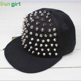 Wholesale Spiky Hats - Wholesale- CharmDemon Men Woman Hedgehog Rock Hip Hop Silver Rivet Stud Spike Spiky Hat Baseball Cap jn28