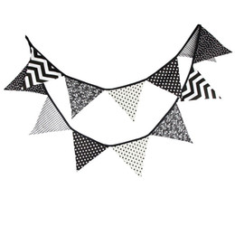 Wholesale White Bunting - Wholesale-3.2m Fabric Cotton Banner Bunting Black and White Pennant Flags Garland Special Baby Shower Outdoor Tent Decoration 12 Flags