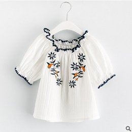 Wholesale Wholesale Half Sleeve Shirts - Girls T-shirt 2017 summer children dew shoulder embroidery princess tops girls stripe hollow out falbala sleeve blouses kids clothes T1962