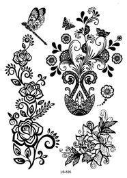 Wholesale Eye Tattoos Stickers Lace - Wholesale- LS635 21*15cm Big Tattoo Sticker Hanna Female Black Lace Bride Temporary Flash Tattoo Stickers Body Art Flowers Vase Tatoo