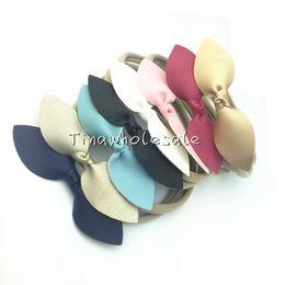 Wholesale Ribbon Style Headband Bow - 5 styles hot Leather Bow Nylon Headband,Leather Bows Baby Headbands,Girls And Kids Nylon Hair Accessories 30pcs lot