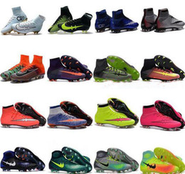 Wholesale Mens Orange Shoes - High Top Mens Kids Soccer Shoes Mercurial CR7 Superfly V FG Boys Football Boots Magista Obra 2 Women Youth Soccer Cleats Cristiano Ronaldo