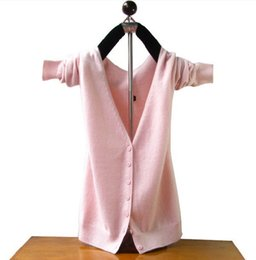 Wholesale Pink Cashmere Sweaters - Hot Sale Cashmere Cardigan Women Sweater Winter and Autumn Warm Woolen Knitted Sweaters V-Neck Designer Cardigans Shirt