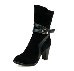 Wholesale Thick High Heeled Work Shoes - Wholesale-plus size 46 woman Work & Safety Ankle boots comfortable Nubuck Leather thick with High-heeled shoes ladies fashion boots
