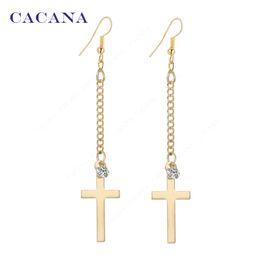 Wholesale Bijouterie Earrings - CACANA Long Earrings Gold Plated Cross Dangle Earrings For Women Top Quality With CZ Diamond Bijouterie Hot Sale No.A199
