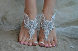 Wholesale Cheap Silver Wedding Sandals - New Arrival Pearl Anklets Wholesale Sandbeach Barefoot Sandals Cheap Stretch Chain Leg Bracelets For Wedding Bridal Bridesmaid Foot Jewelry
