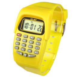 Wholesale Rectangle Function - Lovely Mini Calculator Fashion LED Digital Kids Watch Child Wrist Children Watches Pendientes Colorful Band Multi-Function