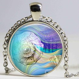 Wholesale Silver Necklace Ocean Heart - Seashell Dream Art Picture 25mm Glass Cabochon Pendant Seashore Glass Dome Jewelry Accessories Ocean Lover's Gift