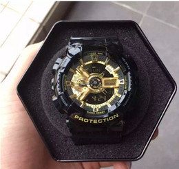 Wholesale Gold Watches China - 2017 Mens Brand Luxury Sports Watches with metal box Outdoor Multifunction Wristwatch G Men's Clock Shock Watch From China kol saati
