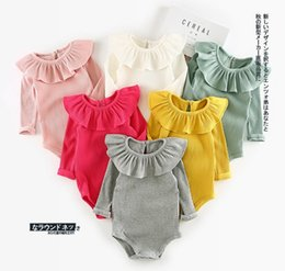 Wholesale New Arrival Baby Rompers - INS new arrivals baby kids climbing romper long sleeve ruffler pet pan collar screw thread multi color romper baby fall rompers 100% cotton